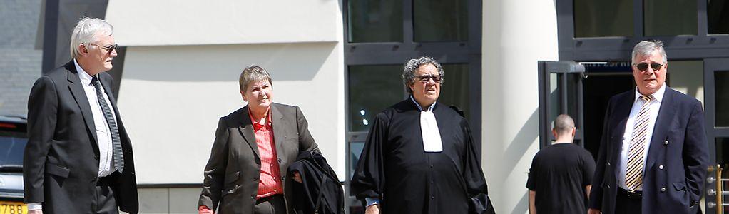 Jos Wilmes (l.) und Marc Scheer (r.) mit ihren Anwälten Lydie Lorang und Gaston Vogel beteuerten von Anfang an ihre Unschuld. Im Prozess ging es bislang jedoch nur wenig um die beiden Angeklagten.