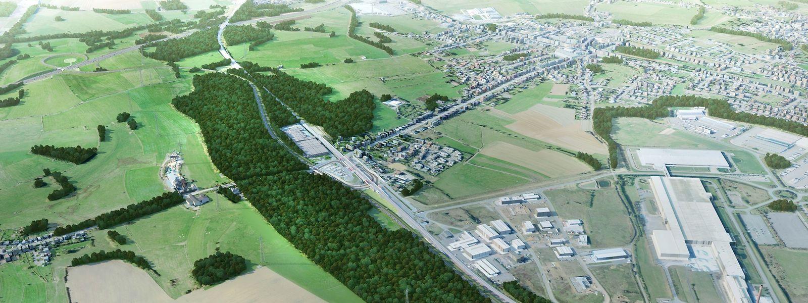 Grafik von der geplanten Umgehungsstraße von Niederkerschen.