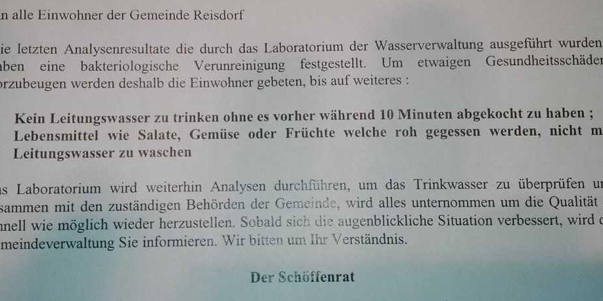 Die Mitteilung, die an die Einwohner von Reisdorf verteilt wurde beinhaltet dieselben Vorsichtsmaßnahmen wie jene aus Fels.