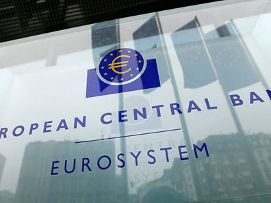 The logo of the European Central Bank (ECB) is pictured outside its headquarters in Frankfurt, Germany