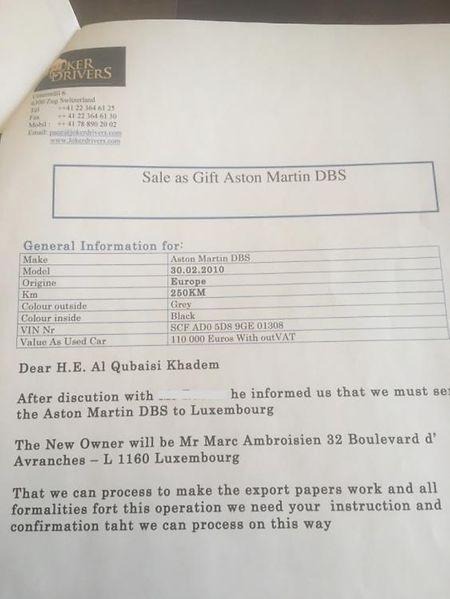 Marc Ambroisien conteste l'authenticité de ce document obtenu par la journaliste Clare Rewcastle-Brown du média indépendant Sarawak Report.