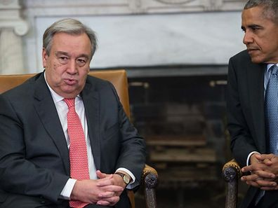 United Nations Secretary-General-designate Antonio Guterres in the Oval Office with US President Barack Obama.