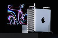 SAN JOSE, CALIFORNIA - JUNE 03: Apple CEO Tim Cook announces the new Mac Pro as he delivers the keynote address during the 2019 Apple Worldwide Developer Conference (WWDC) at the San Jose Convention Center on June 03, 2019 in San Jose, California. The WWDC runs through June 7.   Justin Sullivan/Getty Images/AFP == FOR NEWSPAPERS, INTERNET, TELCOS & TELEVISION USE ONLY ==