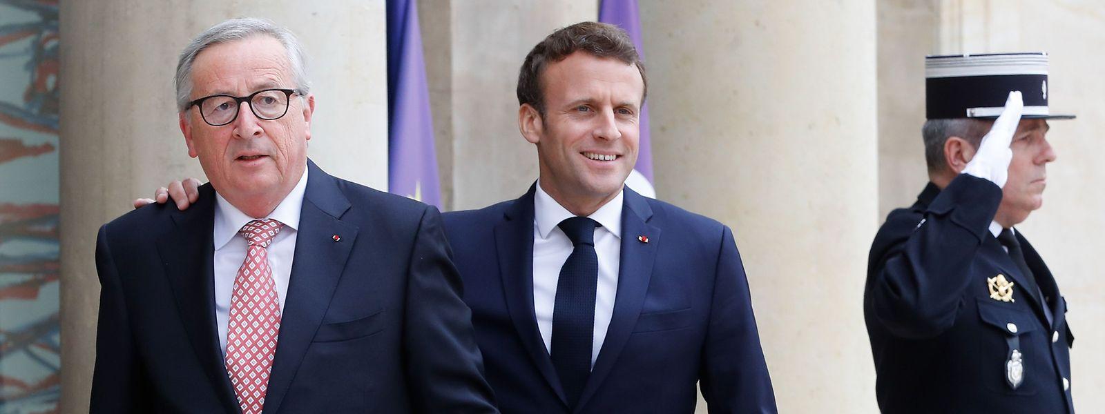 Emmanuel Macron mit Kommissionspräsident Jean-Claude Juncker