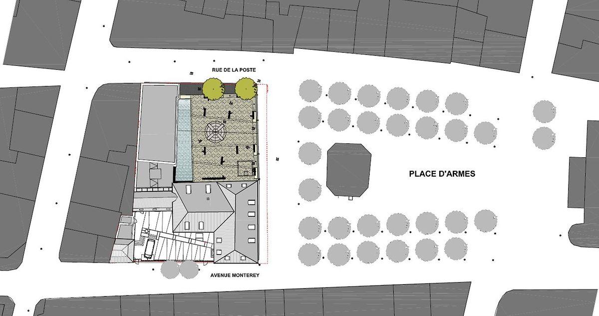 """Der """"Platz auf dem Platz"""" befindet sich am Rande der Place d'Armes und gehört zum davor gelegenen Rechnungshof."""