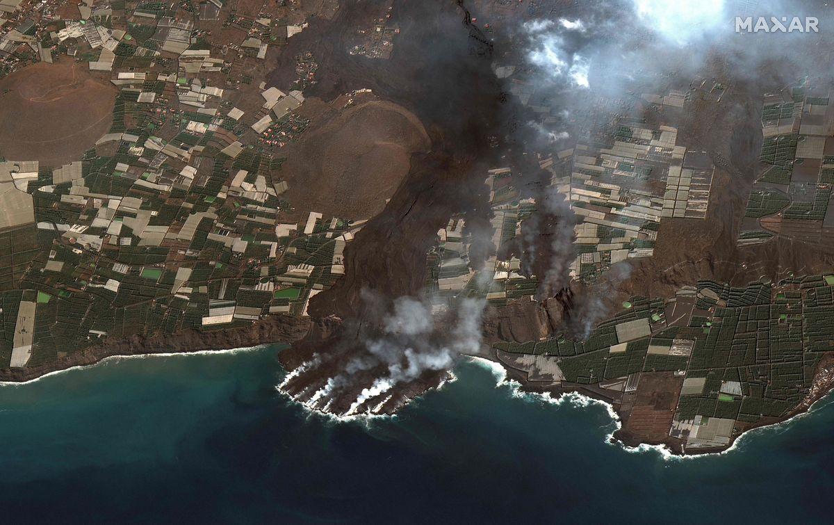 Bisher wurde eine Fläche von etwa 950 Fußballfeldern durch die Lava zerstört.