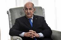(FILES) In this file photo taken on January 21, 2020 Algerian President Abdelmadjid Tebboune meets with the visiting French Foreign Minister (unseen) in the capital Algiers. - Algeria�s president has been transferred to Germany for medical checkups amid Covid scare. (Photo by RYAD KRAMDI / AFP)