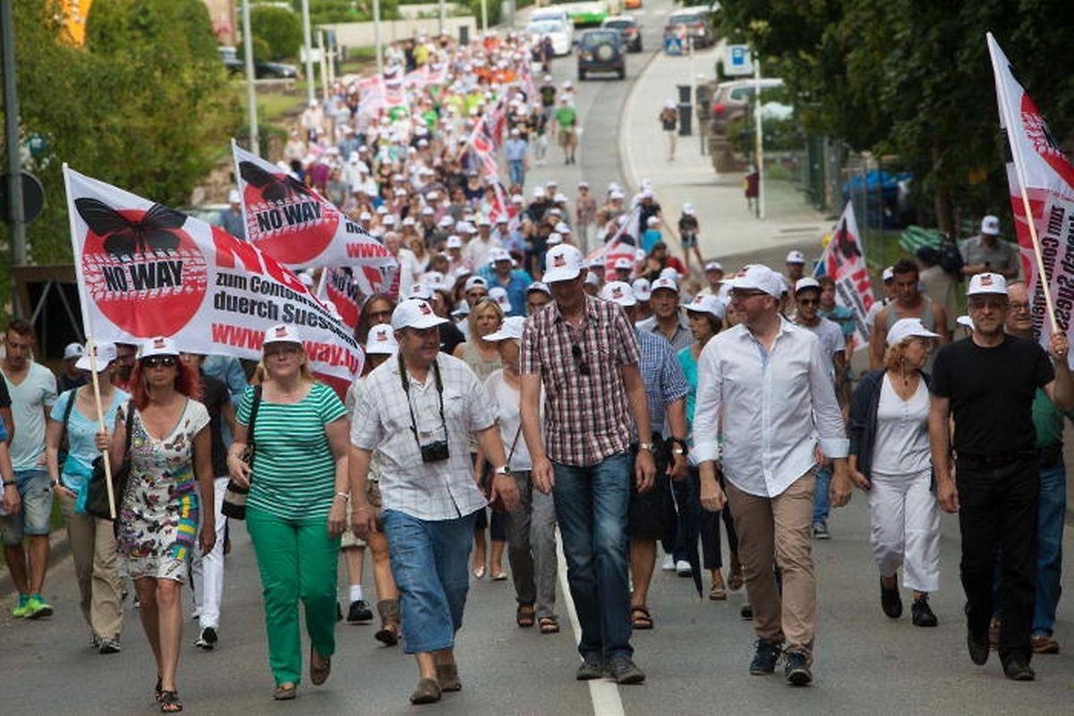 Im Juli 2014 hatten Sassenheimer Bürger gegen die Umgehungsstraße protestiert.