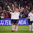 (From L) France's defender Wendie Renard, France's midfielder Amandine Henry and France's defender Sakina Karchaoui celebrate at the end of the France 2019 Women's World Cup round of sixteen football match between France and Brazil, on June 23, 2019, at the Oceane stadium in Le Havre, north western France. (Photo by FRANCK FIFE / AFP)