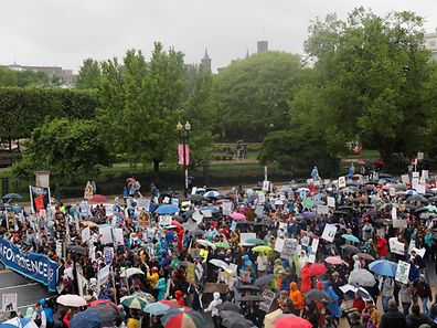 Demonstrators march to the U.S. Capitol during the March for Science in Washington, U.S., April 22, 2017
