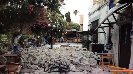 Damage caused by a quake in Kos, Greece, July 21, 2017 is seen in this still photograph uploaded on social media.  Mandatory credit MUST COURTESY Osman Turanli/Social Media/Handout via Reuters  ATTENTION EDITORS - THIS IMAGE WAS PROVIDED BY A THIRD PARTY. NO RESALES. NO ARCHIVE. MANDATORY CREDIT