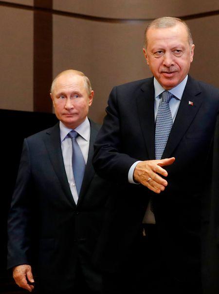 Vladimir Putin und sein türklischer Amtskollegen Recep Tayyip Erdogan trafen sich am Dienstag.