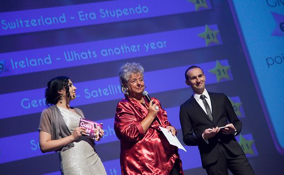 Minister of Culture Maggy Nagel announces the winner of Eurovision Gala Night 2014