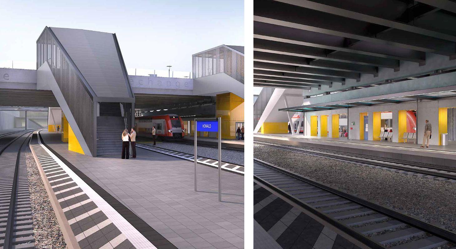 Le pôle d'échange multimodal de Howald, dont une partie sera livrée en décembre et totalement opérationnel en 2024, délestera une partie des voyageurs vers le sud de la capitale pour 42,9 millions d'euros.