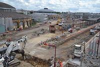 """Der """"Nordkopf"""" des Bahnhofs ähnelt derzeit eher einer Mondlandschaft als einem geschäftigen Verkehrsknotenpunkt."""