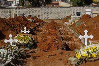 """ARCHIV - 06.04.2020, Brasilien, Sao Paulo: Neue Gruben stehen offen in einem Friedhof mitte in der Corona-Pandemie. Der Bundesstaat São Paulo verzeichnet die meisten Coronavirus-Infizierte in Brasilien, obwohl der Gouverneur -trotz der Einsicht des Präsidenten Bolsonaro, das Coronavirus als «kleine Grippe» zu verstehen- als erster in Brasilien Ausgangsbeschränkungen verfügt hatte. (zu dpa """"Corona-Krise: Brasilien am Limit"""") Foto: Warley Kenji/dpa +++ dpa-Bildfunk +++"""