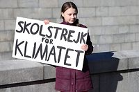 """Der Anfang: """"Schulstreik für Klima"""" steht auf der Holzplatte, die Greta Thunberg in die Kamera hält. Eine weltweite Protestbewegung folgte."""