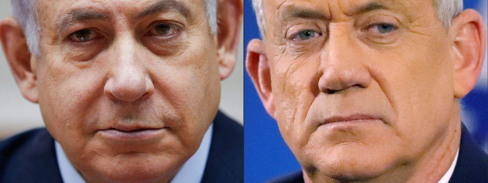 Benjamin Netanjahu und Benny Gantz (r.)