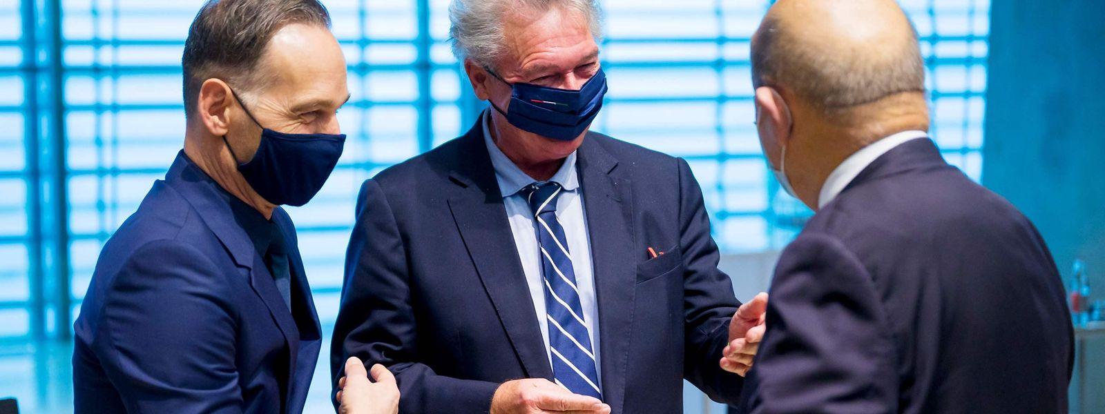 Jean Asselborn mit seinen Amtskollegen aus Frankreich, Jean-Yves Le Drian (r.), und Deutschland, Heiko Maas.