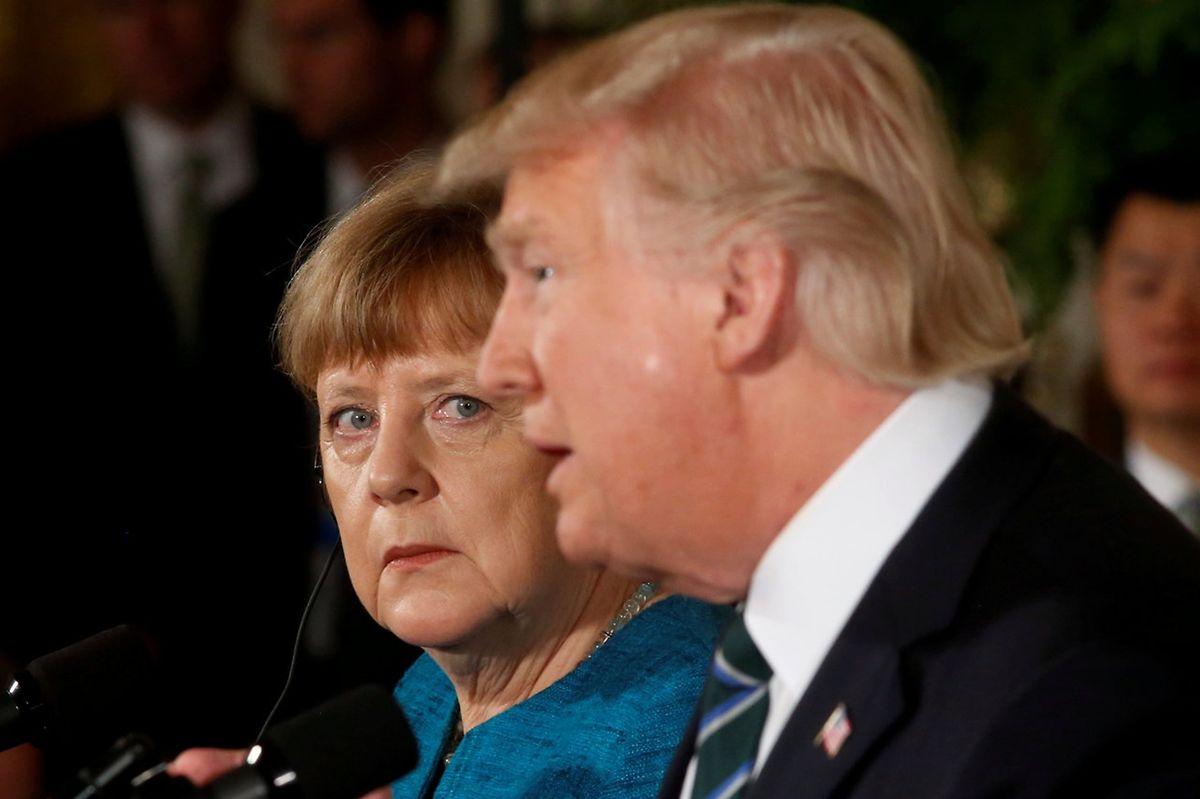 Die deutsche Bundeskanzlerin Angela Merkel und US-Präsident Donald Trump bei ihrem Treffen im Weißen Haus in Washington.
