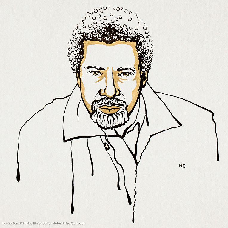 Die Illustration zeigt den Schriftsteller Abdulrazak Gurnah.