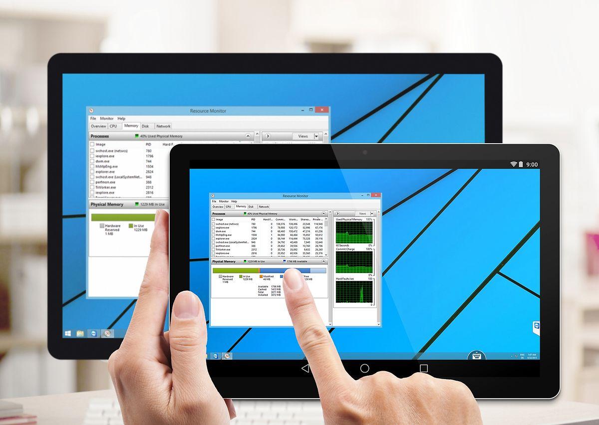 Mit TeamViewer lässt sich per Tablet oder Smartphone der Rechner fernsteuern. Der Desktop wird dazu einfach auf das mobile Gerät gespiegelt.