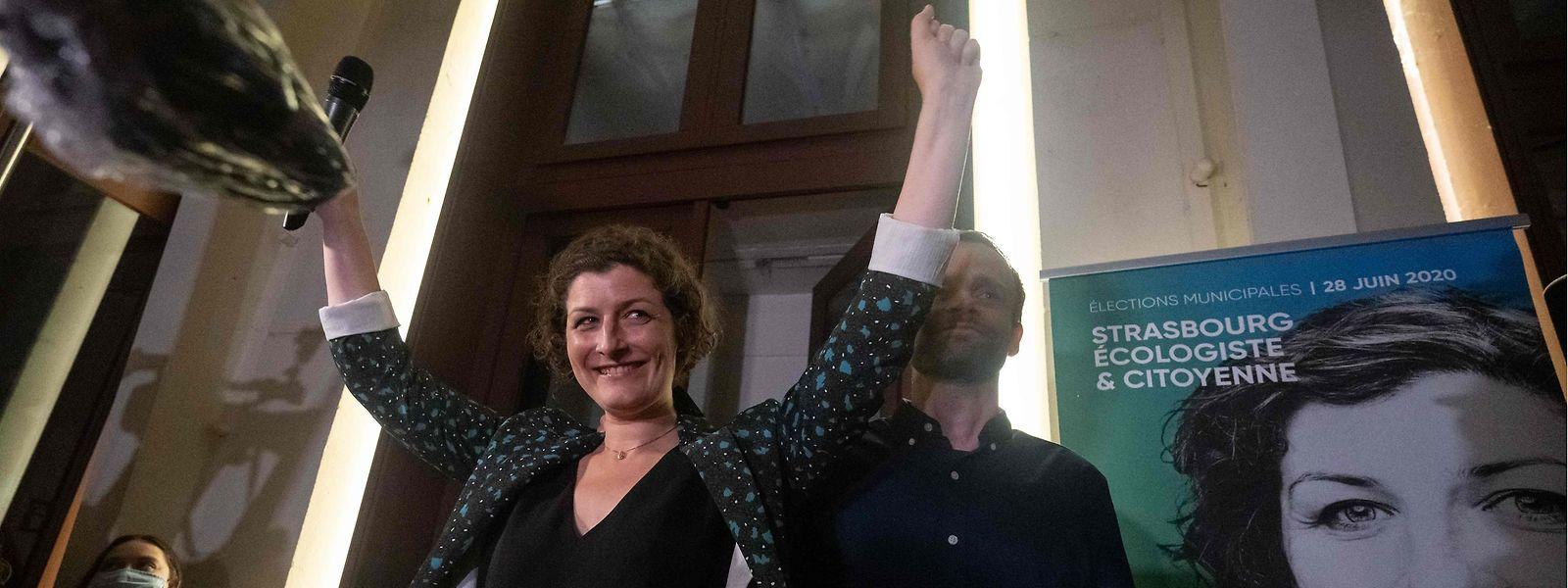 A Strasbourg, la candidate d'Europe Écologie les Verts Jeanne Barseghian a célébré sa victoire avec ses électeurs