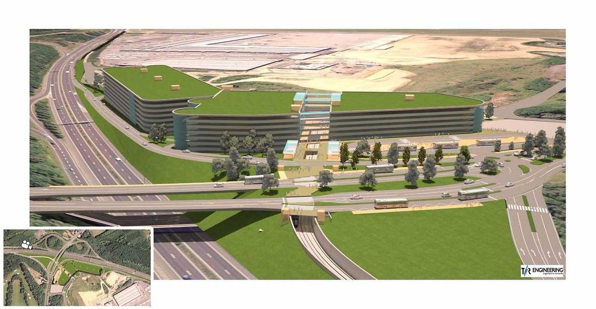 Le futur Pôle d'échange «Héihenhaff» qui doit être construit non loin du Findel, juste au bord de l'autoroute de Trèves. C'est un gigantesque P&R de 4.000 places d'où on pourra se rendre en tram à Luxexpo ou au Findel.