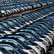 """(FILES) In this file photo taken on September 11, 2015 smart cars are parked at the Smart factory in Hambach, eastern France. - The production of Smart fortwo cars will stop """"between 2022 and 2024"""" on the historic site of the brand in Hambach (Moselle), the direction announced on March 27, 2019 to the employees, according to the unions. (Photo by Patrick HERTZOG / AFP)"""