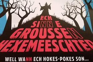 L'une des deux premières affiches met l'attention sur l'orthographe du «n» en fin de mot. C'est une célèbre citation extraite de l'opérette «D'Mumm Séiss oder de Geescht»  de Dicks (Edmond de la Fontaine).