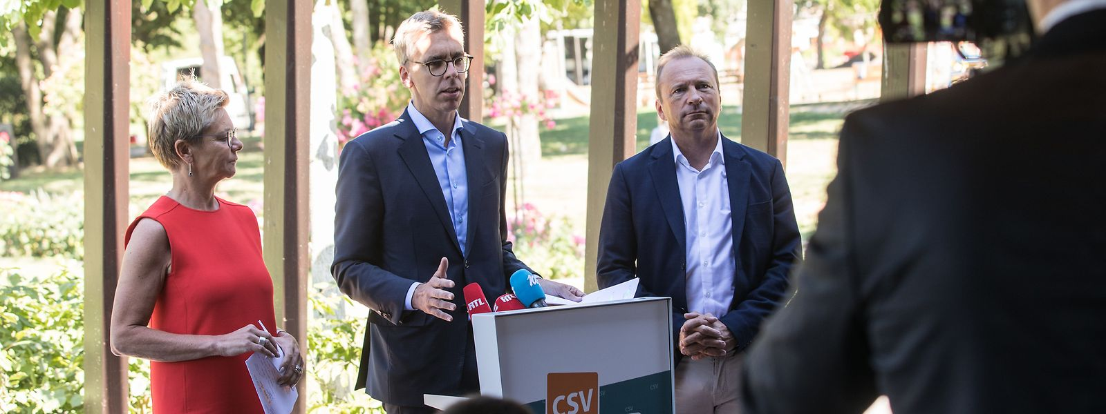 Fraktionspräsidentin Martine Hansen mit ihren Stellvertretern Léon Gloden und Gilles Roth (v.l.n.r.).
