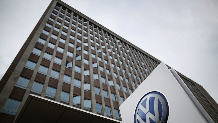 This file photo taken on May 19 shows the logo of German car maker Volkswagen (VW) outside the main administrative building of the Volkswagen brand at VW plant in Wolfsburg, central Germany.