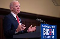 """Former vice president and Democratic presidential candidate Joe Biden speaks about the unrest across the country from Philadelphia City Hall on June 2, 2020, in Philadelphia, Pennsylvania, contrasting his leadership style with that of US President Donald Trump, and calling George Floyd's death """"a wake-up call for our nation."""" (Photo by JIM WATSON / AFP)"""