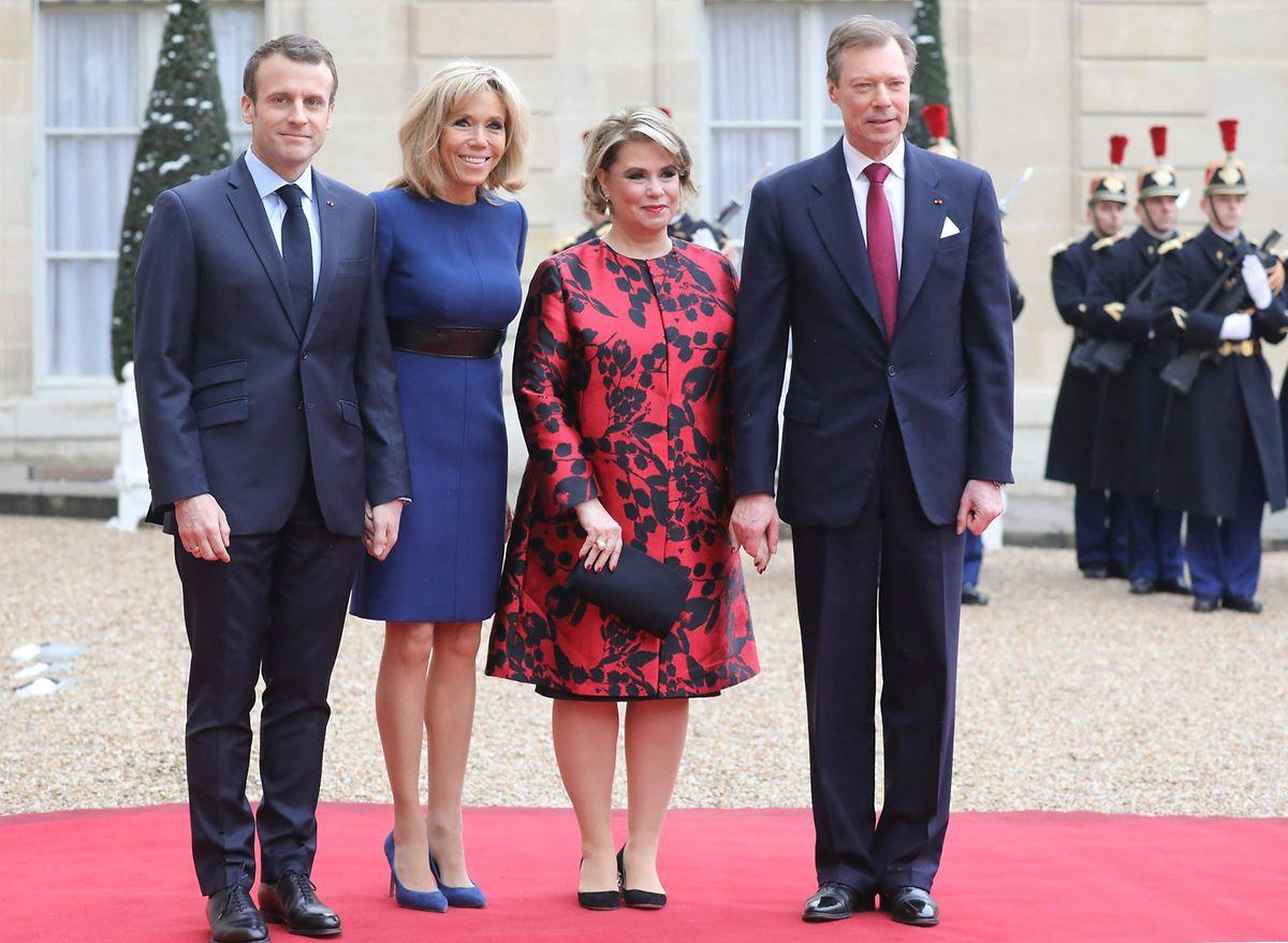 Les deux couples lors de la visite d'Etat à Paris en mars