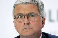 """(FILES) This file photo taken on April 28, 2016 shows Rupert Stadler, then CEO of German car maker Audi and Member of the Board of Management of German car maker Volkswagen (VW), attending VW's annual press conference in Wolfsburg, northern Germany. - German prosecutors said Wednesday they had charged former Audi chief executive Rupert Stadler with fraud over the Volkswagen subsidiary's role in the """"dieselgate"""" emissions cheating scandal. (Photo by RONNY HARTMANN / AFP)"""