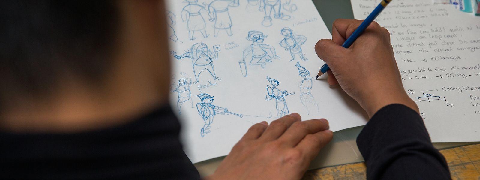 """Bevor beim """"BTS Animation"""" modernste Computertechnik zum Einsatz kommt, muss der Auszubildende vor allem das Zeichnen von Hand beherrschen."""