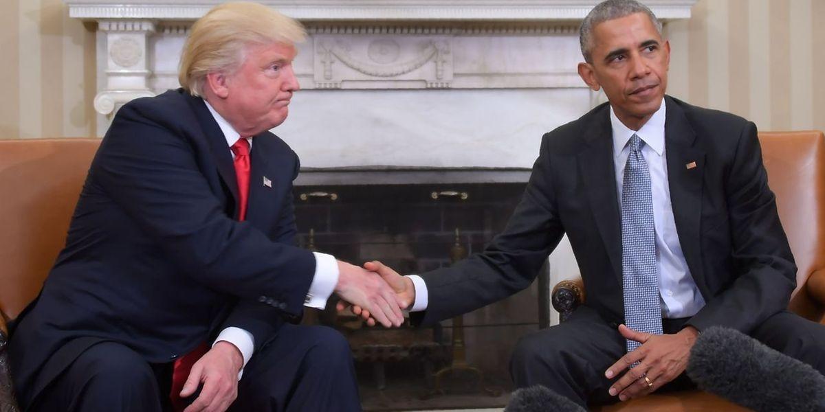 Donald Trump e Barack Obama na Casa Branca
