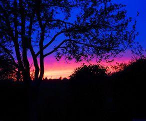 Sonnenënnergang a mengem Gaart zu Méidengen