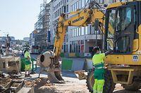 Baustelle Tram und geschlossene Geschäfter im Garer Viertel, Foto: Lex Kleren/Luxemburger Wort