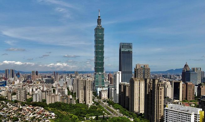 This general view shows the 508-metre tall Taipei 101 commercial building in Taipei on July 16, 2021.
