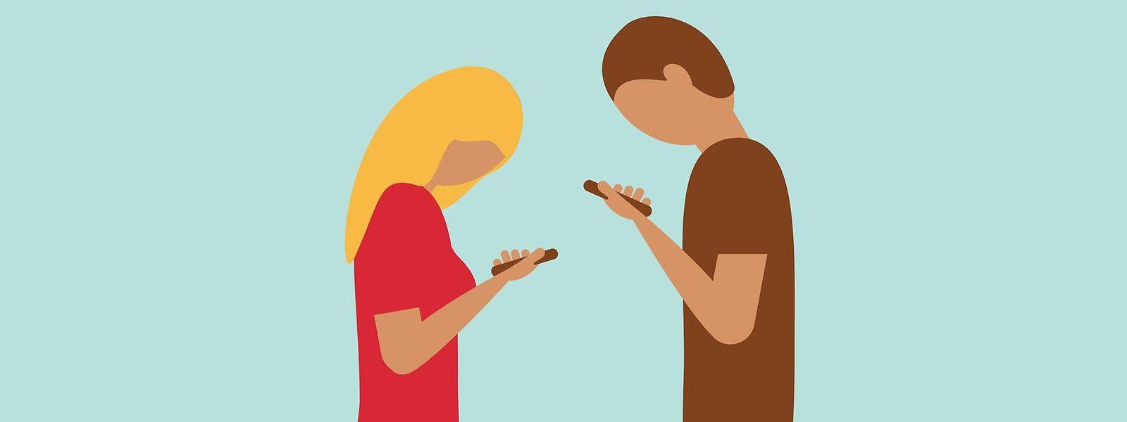 Die Kommunikation per Smartphone und Internet spielt heutzutage eine wichtige Rolle in Beziehungen.
