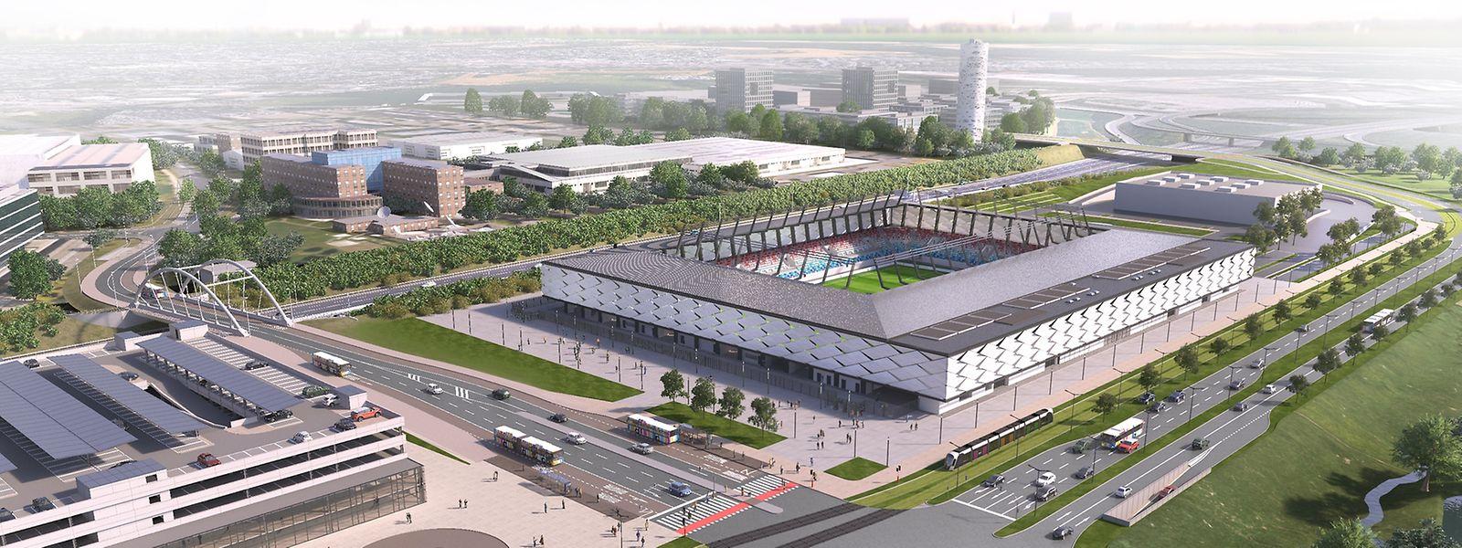 So wird das neue Stadion (rechts) aussehen.