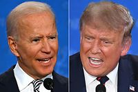 (COMBO) In this file combination of pictures created on September 29, 2020 Democratic Presidential candidate and former US Vice President Joe Biden (L) and US President Donald Trump speak during the first presidential debate at the Case Western Reserve University and Cleveland Clinic in Cleveland, Ohio. - The presidential debate between Democratic Presidential candidate and former US Vice President Joe Biden and US President Donald Trump scheduled for October 15 has been cancelled by the Commission on Presidential Debates, US media reported on October 9, 2020. (Photos by JIM WATSON and SAUL LOEB / AFP)
