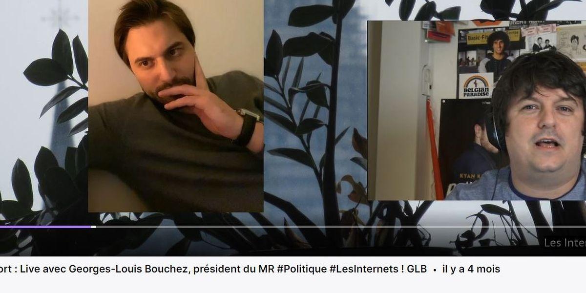 Interview en mode décontracté, voilà qui séduit le politicien Georges-Louis Bouchez (à gauche)  depuis quelques mois.