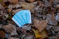 A discarded face mask lies on fallen autumn leaves in Berlin's Kreuzberg district on November 7, 2020 amid the novel coronavirus (Covid-19) pandemic. (Photo by DAVID GANNON / AFP)