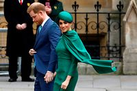 """(FILES) In this file photo taken on March 09, 2020 Britain's Prince Harry, Duke of Sussex, (L) and Meghan, Duchess of Sussex arrive to attend the annual Commonwealth Service at Westminster Abbey in London . - The Duchess of Sussex has claimed she was left """"unprotected"""" by the royal family from """"false and damaging"""" media articles when she was pregnant, according to leaked documents published on Thursday. (Photo by Tolga AKMEN / AFP)"""