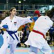 33 FLAM nationale Meisterschaften im Karate Kumite in der Coque am 27.11.2016 Jenny WARLING (blau) Cassy SCHMIT (rot)