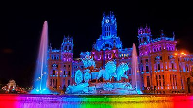 Plaza de Cibeles, Madrid lit up for WorldPride 2017