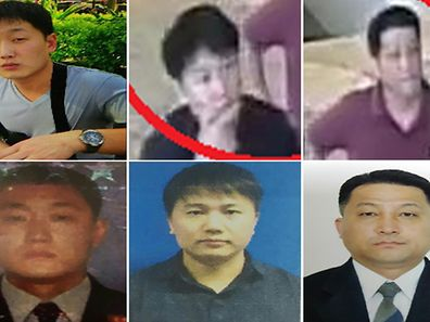 "This combo of handout pictures released by the Royal Malaysian Police in Kuala Lumpur on February 22, 2017 shows location image or CCTV footage (top row) and passport style photos (bottom row) of North Korean nationals (from L to R) 30-year-old Ri Ji U, 37-year-old North Korean airline employee Kim Uk Il, and 44-year-old diplomat Hyon Kwang Song, wanted for police questioning in connection to the February 13 assassination of Kim Jong-Nam, the half brother of North Korean leader Kim Jong-Un. Detectives probing the assassination of Kim Jong-Un's half-brother want to question a North Korean diplomat, Malaysia's top policeman said February 22. Investigators have put five North Koreans in the frame for last week's brazen killing of Kim Jong-Nam at Kuala Lumpur International Airport and have said they are seeking three more for questioning.   / AFP PHOTO / Royal Malaysian Police / Handout / -----EDITORS NOTE --- RESTRICTED TO EDITORIAL USE - MANDATORY CREDIT ""AFP PHOTO / Royal Malaysian Police"" - NO MARKETING - NO ADVERTISING CAMPAIGNS - DISTRIBUTED AS A SERVICE TO CLIENTS"