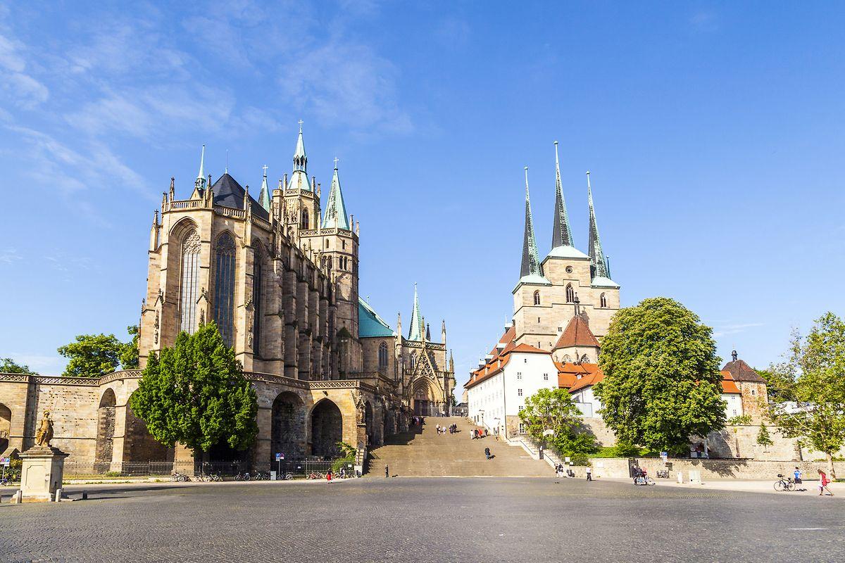Ein weiterer Höhepunkt der Städtetour: der Erfurter Domberg – mit dem namensgebenden Gotteshaus und der Severikirche.